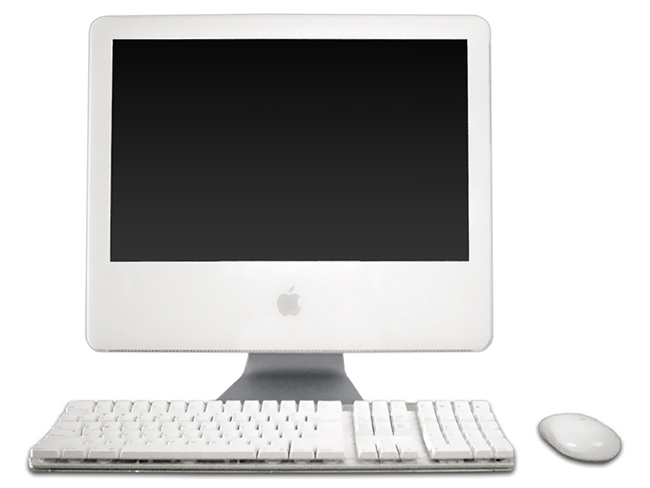 Next revision, the iMac G5 placed the components behind the display.