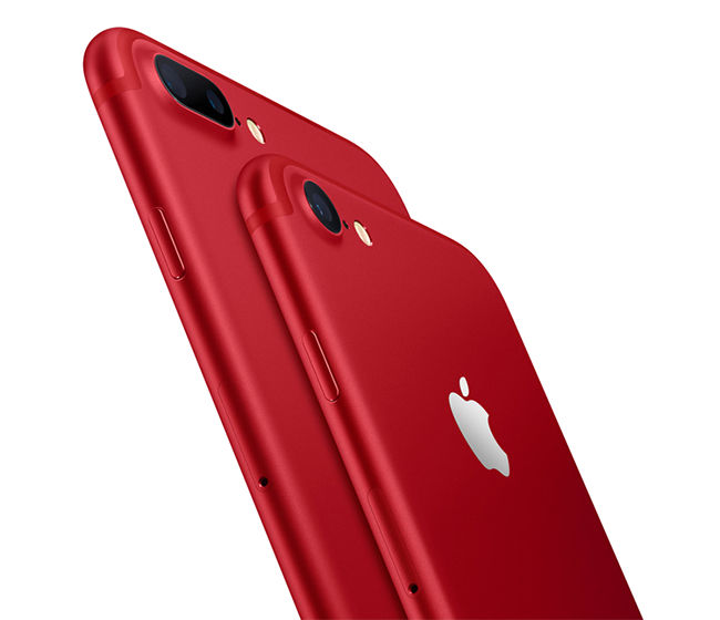 Apple customers can contribute to the Global Fund to fight AIDS with iPhone 7 and iPhone 7 Plus (PRODUCT)RED Special Edition.