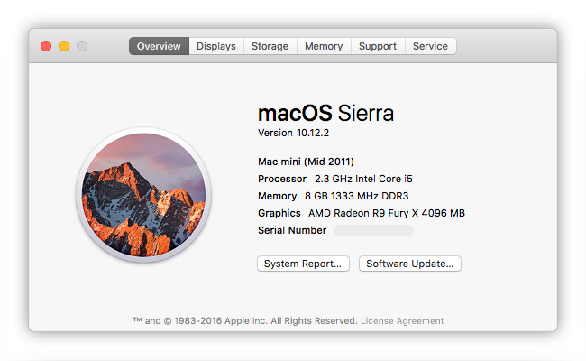 "The sample of the ""About This Mac"" window for Mac mini."