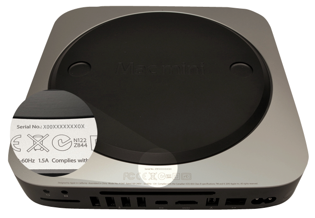 How to identify your Mac mini on the surface of your computer.