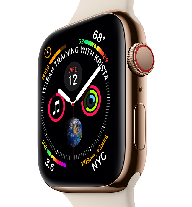 The redesigned Apple Watch Series 4 features a stunning display with thinner borders and curved corners