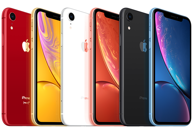 The iPhone XR comes in five vibrant colors: Black, Red, Yellow, Blue, Coral