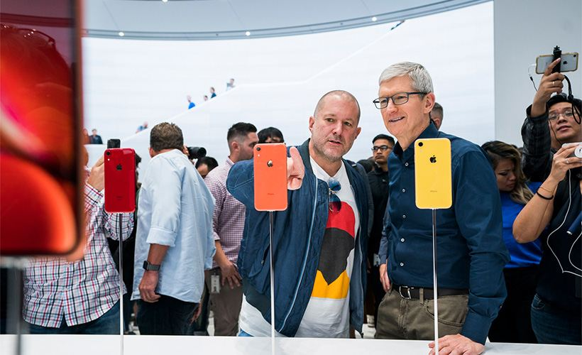 Jony Ive and Tim Cook at the September 2018 launch of iPhone XR.