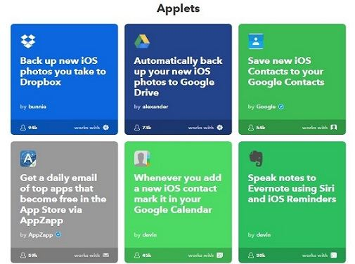 applets - IFTTT (If This Then That) Service