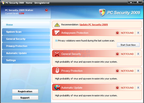 Fake Antivirus Screenshot