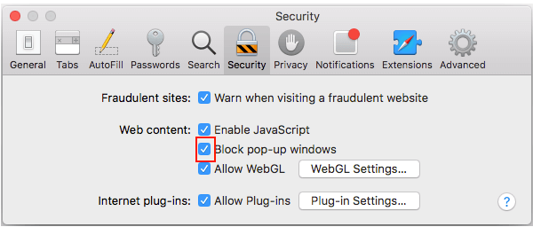 Safari Block or Allow Pop-Up