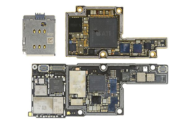iPhone X teardown: the separated logic board