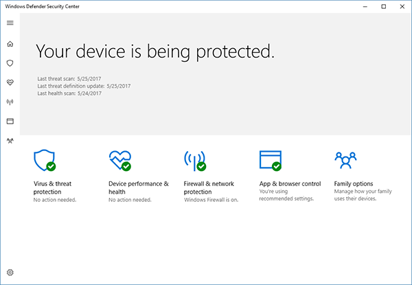 The Creators Update introduces the Windows Defender Security Center, which makes it easier to take control of your security settings