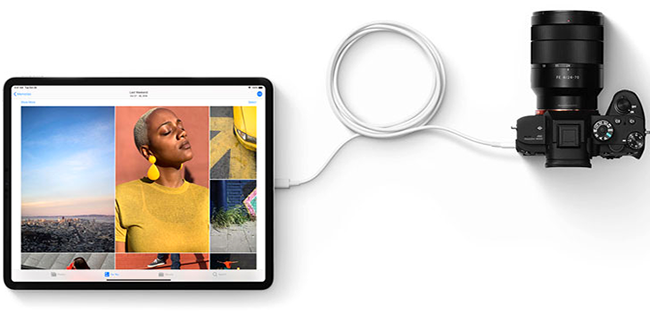 You can not take a flash card or HDD and connect it to an iPad Pro to copy files. If you do this, you will see only photos with videos and get an opportunity to export them.