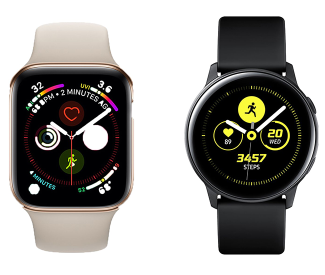 The Samsung Galaxy Watch Active with the Apple Watch Series 4.