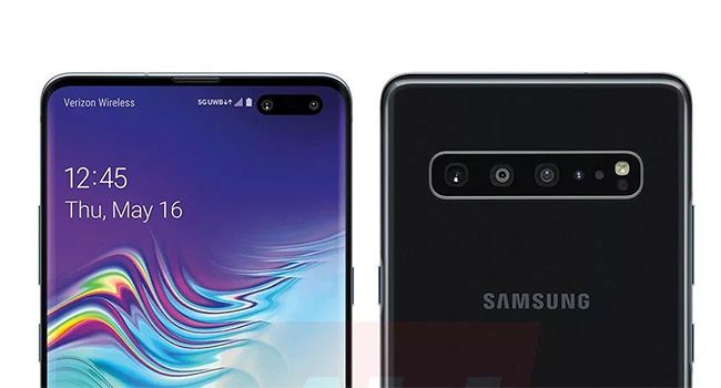 Samsung Galaxy S10 5G for Verizon shown off in press render w/ huge connectivity icon.