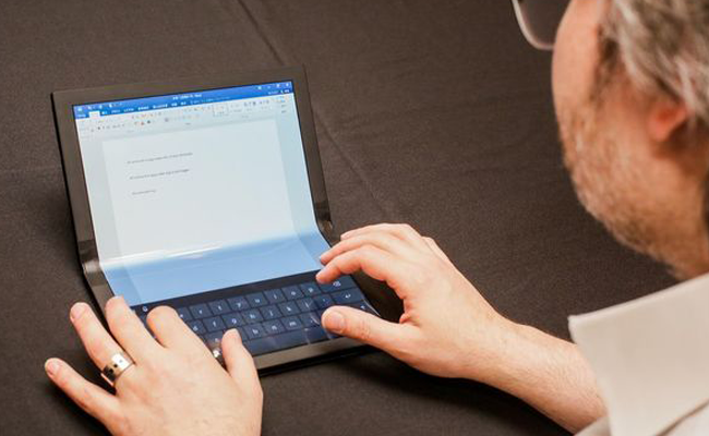 ThinkPad X1 can be used as a laptop with the bottom side working as a keyboard - Foldable Lenovo ThinkPad X1 Prototype