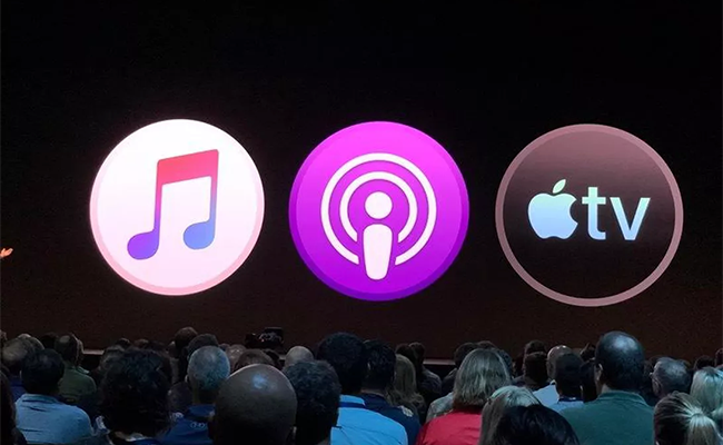 Apple Music, Apple Podcasts and Apple TV Apps.