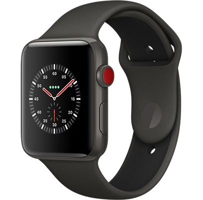 Apple Watch Series 3 Gray Ceramic Case with Gray/Black Sport Band